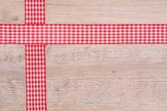 Faborki sukienny czerwieni i białego w kratkę Obrazy Royalty Free