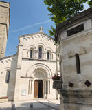 Fabregues (France). Fabregues (Herault, Languedoc-Roussillon, France), historic village near Montpellier: church and fountain stock photo