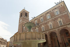 Fabriano (Marches, Italy). Fabriano (Ancona, Marches, Italy), the main square with monumental fountain Stock Photography