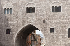 Fabriano (Marches, Italy). Fabriano (Ancona, Marches, Italy), historic palace as entrance to the city Stock Photography