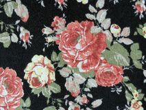 Fabric. Black fabric with red roses Royalty Free Stock Photography