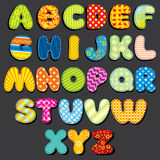 Fabric Alphabet. Fun Cartoon Letters Patches Royalty Free Stock Photography