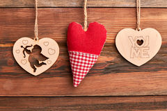 Free Fabric And Wooden Hearts. Royalty Free Stock Photography - 83838787