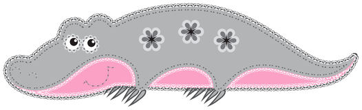 Fabric animal cutout. Crocodile Royalty Free Stock Images