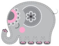 Fabric animal cutout. Elephant Royalty Free Stock Images