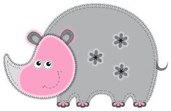 Fabric animal cutout. Rhino Royalty Free Stock Images