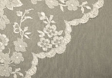 Fabric background. Flowers lace on the fabric. Sepia, grey Royalty Free Stock Images