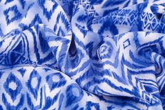 Fabric background. Blue and white fabric background closeup picture Royalty Free Stock Photography
