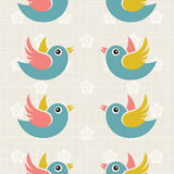 Fabric Background with cute birds Stock Images