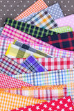 Fabric background. Different color of many checkered plaid fabric background Stock Images
