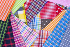 Fabric background. Different color of many checkered plaid fabric background Stock Image