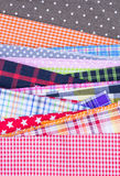 Fabric background. Different color of many checkered plaid fabric background Royalty Free Stock Image