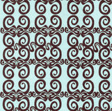 Fabric background with swirls. Blue Fabric background with Brown Pattern Swirls Royalty Free Stock Images