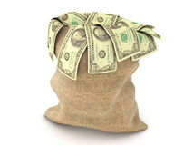 Fabric bag stuffed with dollars Stock Images