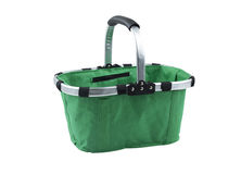 Fabric basket with metal handle Stock Images