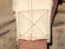 Fabric belt strap cotton bag hold sewing sown. Essex; England; UK royalty free stock photo