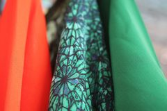 Fabric blouses. Beautiful fabric blouses, plain and pattern stock images