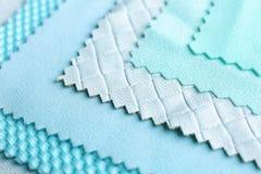 Fabric samples, closeup. Fabric blue samples , close up Royalty Free Stock Image