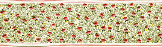Fabric border decorated with flowers. Stock Photography