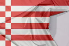 Fabric Bremen flag crepe and crease with white space, a red and white flag royalty free stock photo