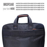 Fabric briefcase document and laptop on white Royalty Free Stock Photos