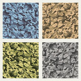Fabric camouflage seamless patterns set Royalty Free Stock Photos
