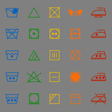 Fabric care sign and symbol color icons Stock Photo