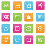 Fabric care symbols. Collection of icons with fabric care symbols Royalty Free Stock Photo