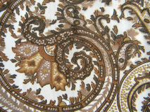 Fabric with classical east drawing. Shades brown and beige Royalty Free Stock Photography