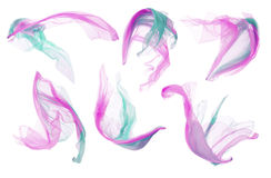Fabric Cloth, Silk Flying Fluttering, Pink Cyan White Clothes stock photos