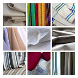 Fabric collage. Various fabrics and texture on a collage Stock Images