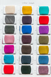 Fabric color samples palette. On white paper background Royalty Free Stock Photo