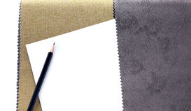 Fabric color samples and pencil for designer Stock Image
