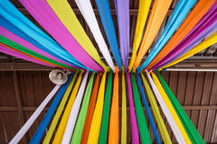 The Fabric Colorful for decoration celebrate at a local event fo Royalty Free Stock Photo