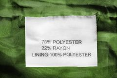 Fabric composition label. Fabric composition clothes label on green textile background closeup Stock Images