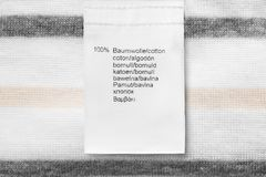 Fabric composition label Stock Photos