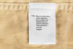 Fabric composition label Stock Photography