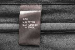 Fabric composition label Royalty Free Stock Images