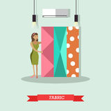 Fabric concept vector illustration in flat style. Vector illustration of young woman choosing fabric to have clothing made. Atelier, tailoring shop, fashion Stock Photography