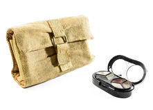 Fabric cosmetic bag and make up Stock Images