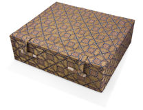 Fabric covered oriental box Stock Photos