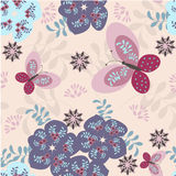 Fabric design. Floral seamless pattern with butterflies stock illustration