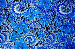 Fabric design blue on black background Stock Photo