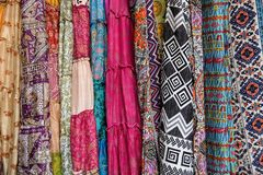 Colorful fabric designs at Arambol market, Goa, India. Fabric designs, closeup, macro at Arambol market, Goa, India royalty free stock images