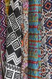 Colorful fabric designs at Arambol market, Goa, India. Fabric designs, closeup, macro at Arambol market, Goa, India royalty free stock photography