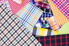 Fabric. Different checkered plaid cloth colorful fabrics Stock Images