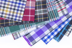 Fabric. Different color of many checkered plaid background Royalty Free Stock Photography