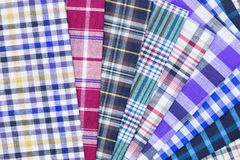 Fabric. Different color of many checkered plaid background Stock Photos