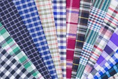Fabric. Different color of many checkered plaid background Stock Images