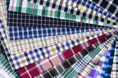 Fabric. Different color of many checkered plaid background Stock Photo